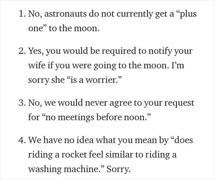 Isi surat penolakan dari 'NASA'.