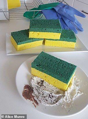 Kue vanilla berbentuk spons pencuci makanan