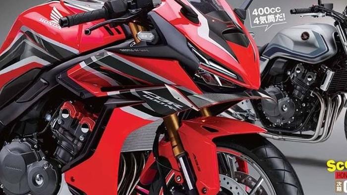 Rendering Honda CBR400RR bermesin 4 silinder
