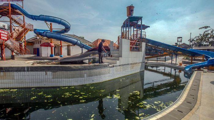 Penjaga mengecek kolam renang yang dimanfaatkan menjadi kolam ikan jenis lele di Fun Park Water Adventure, Villa Nusa Indah, Gunung Putri, Kabupaten Bogor, Jawa Barat, Kamis (25/6/2020). Pemanfaatan sementara wahana kolam renang menjadi kolam ikan tersebut sebagai upaya menjaga kestabilan ekonomi  karyawan di masa pandemi COVID-19 sekaligus menghilangkan jentik nyamuk yang berada di kolam tersebut. ANTARA FOTO/Yulius Satria Wijaya/nz