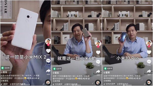 CEO Xiaomi Lei Jun memamerkan 3 HP terbaik favoritnya