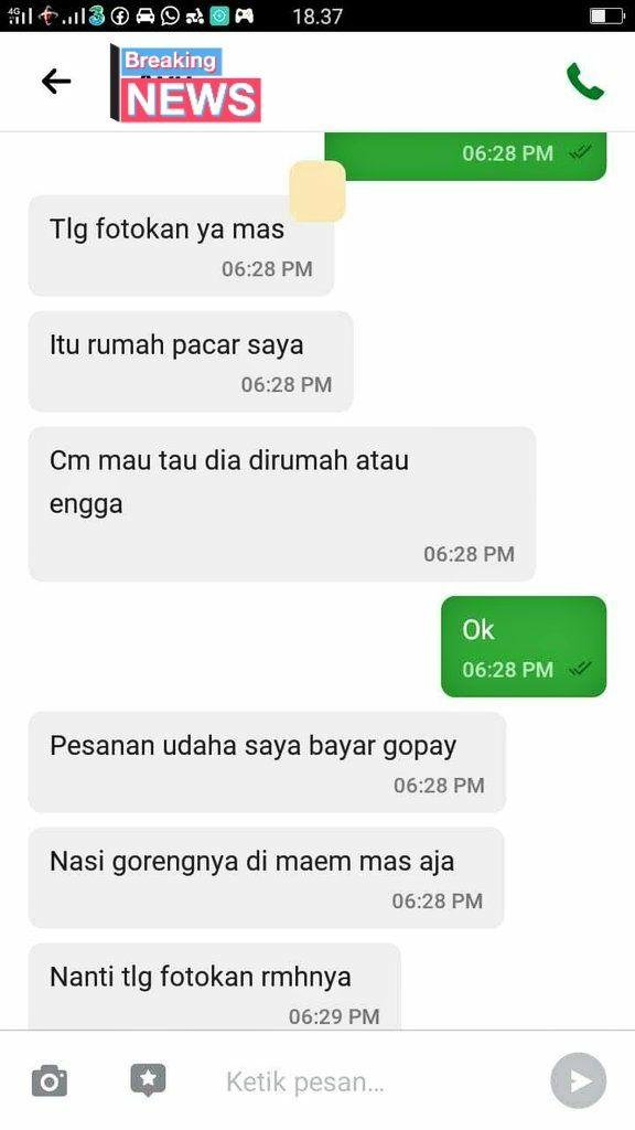 Netizen pesan makanan via ojol untuk memastikan keberadaan pacarnya