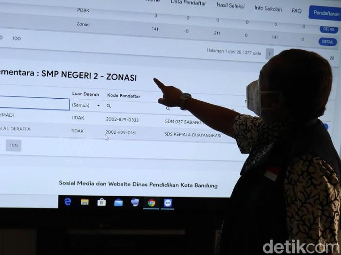 Mendapatkan keluhan terkait pelaksanaan Penerimaan Peserta Didik Baru (PPDB) Wakil Wali Kota Bandung Yana Mulyana tinjau sejumlah sekolah SMP, salah satunya SMPN 2 Bandung.