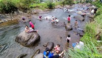 Para wisatawan umumnya datang dengan rombongan keluarga mereka. Dengan asyik, mereka bermain air di aliran Sungai Cileueur yang jernih. (Dadang Hermansyah/detikcom)