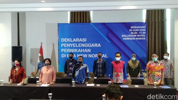 Gabungan Penyelenggara Pernikahan Semarang (GPPS) mendeklarasikan penyelenggaraan pernikahan di era new normal, Jumat (26/6/2020).