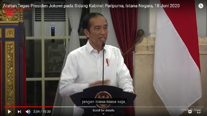 Ekspresi Jokowi dianalisis pakar gestur. (Tangkapan layar kanal YouTube Setpres RI)