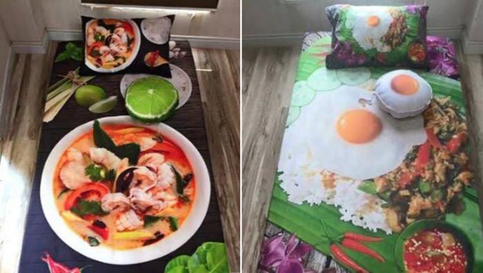 Sprei kasur 3d bergambar makanan lezat