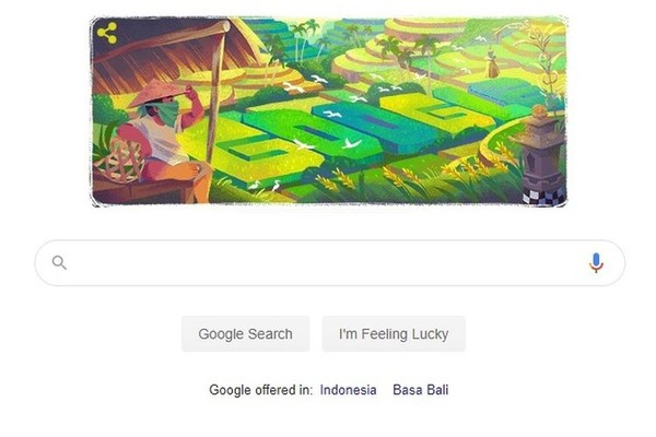 Hari ini Google Doodle menampilkan ilustrasi hamparan sawah di Bali yang dikenal dengan nama subak. (Google Doodle/ Istimewa)
