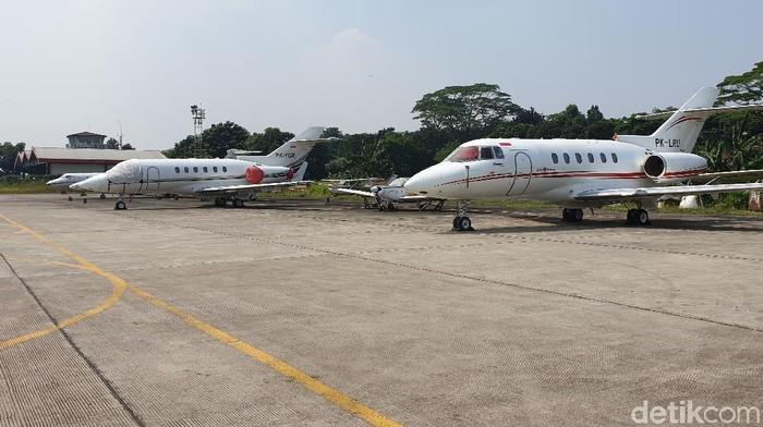 Apron pesawat pribadi di Bandara Halim Perdanakusuma