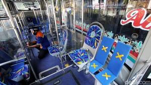 Begini Lho Penerapan Protokol Kesehatan di dalam Bus