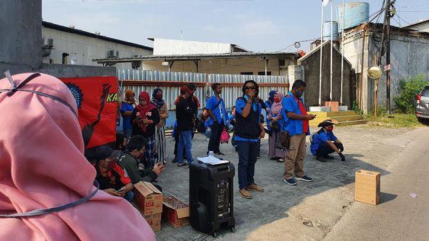 Demo buruh di Kabupaten Bekasi