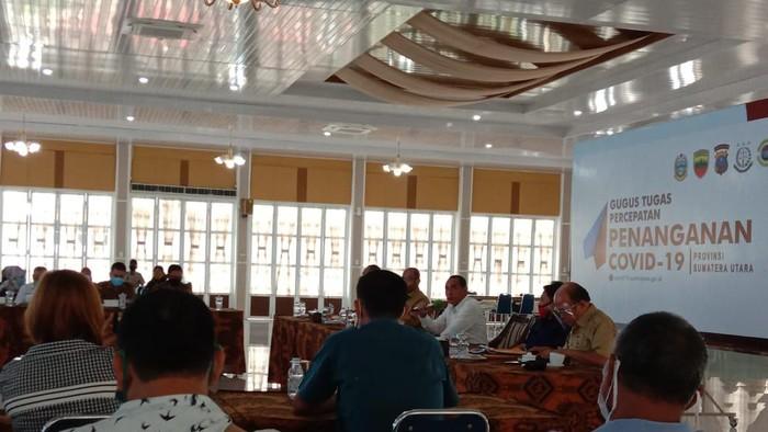 Temu ramah Gubsu Edy dengan wartawan di Medan (Ahmad Arfah-detikcom)