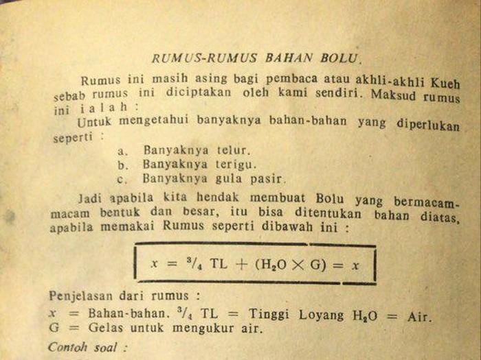 Resep bolu dengan rumus matematika