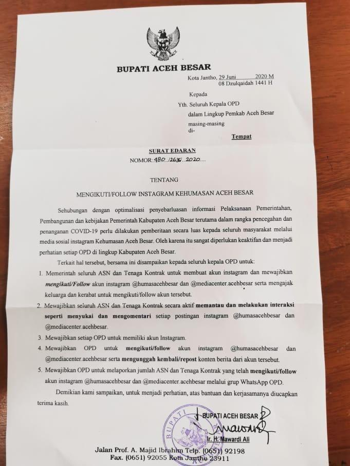 Surat Edaran Bupati Aceh Besar