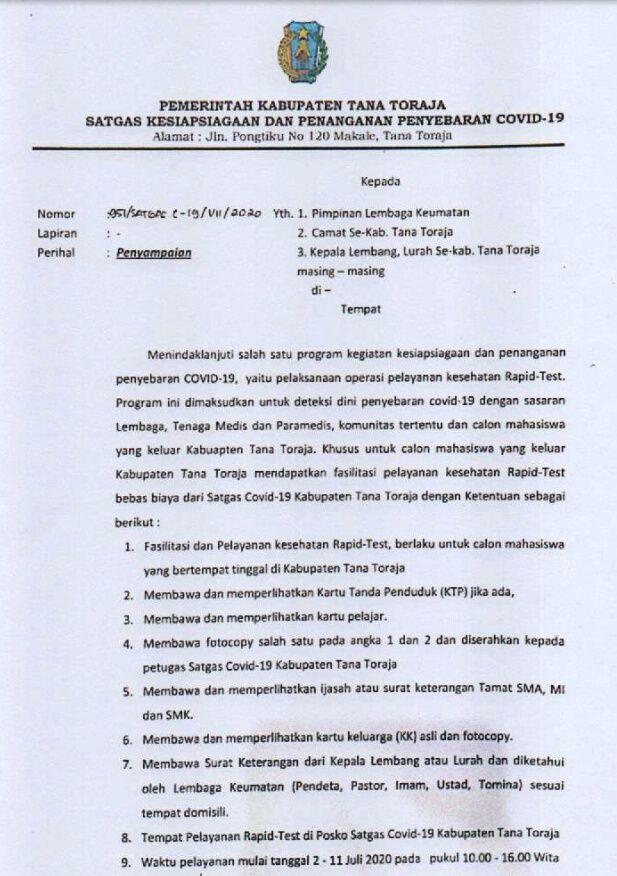 Surat Edaran Bupati Tana Toraja
