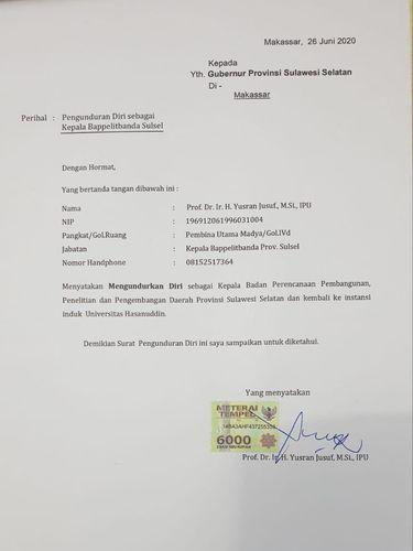 Surat pengunduran diri Yusran Jusuf dari Kepala Bappelitbanda Sulsel (dok. Istimewa).