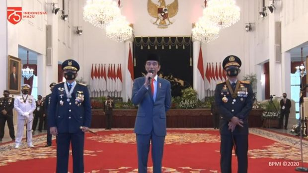 Teleconference Jokowi dengan Kapolres Gunungkidul dalam rangka HUT Bhayangkara ke-74, Rabu (1/7/2020).