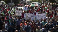 Demo Warga Palestina Tolak Rencana Israel Caplok Tepi Barat