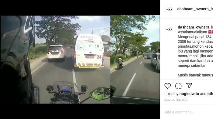 Sebuah mobil enggan membiarkan ambulans menyalip