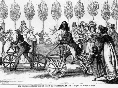 1818: A cycle track in the Luxembourg Gardens in Paris. (Photo by Hulton Archive/Getty Images)
