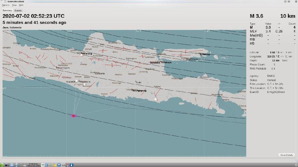 Gempa 3,6 SR Guncang Barat Daya Gunungkidul DIY