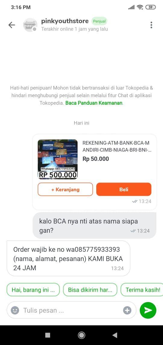 Ilegal Nih Jual Beli Rekening Bank Ada Di Tokopedia