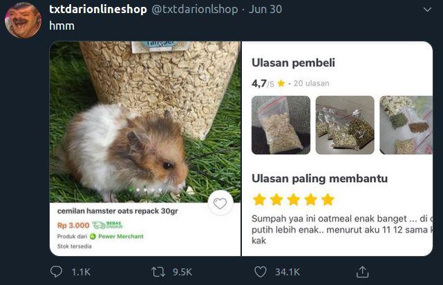 Makanan Hamster Dimakan Manusia