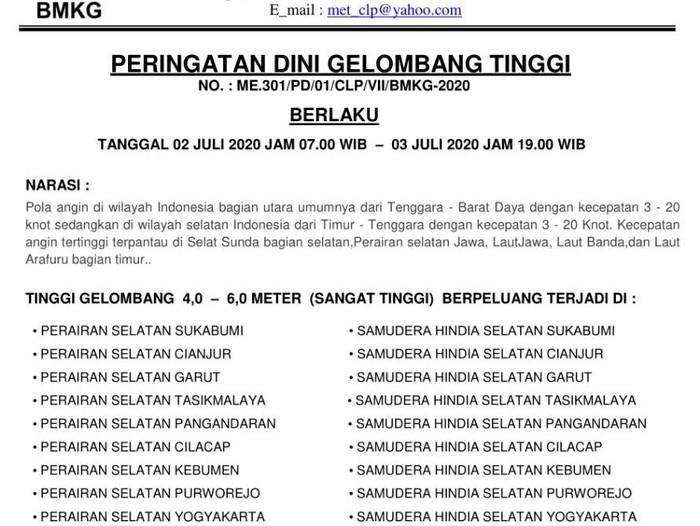 Peringatan dini gelombang tinggi di perairan selatan Jawa, Kamis (2/7/2020).