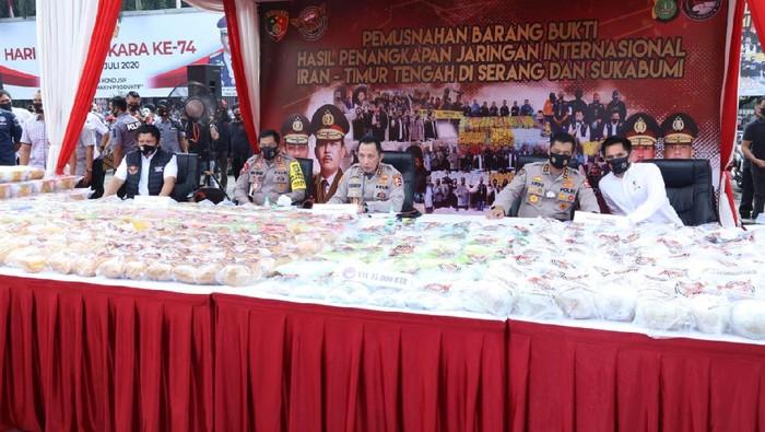 Polri Musnahkan 1,2 Ton Sabu di Polda Metro Jaya