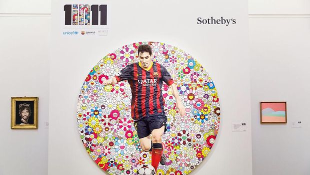LONDON, ENGLAND - FEBRUARY 06:  'Lionel Messi and a Universe of Flowers' by Takashi Murakami is one of the works featured in Sotheby's forthcoming auction on the 12th of Febrary 2015 in support of the 1 in 11 campaign led by Lionel Messi, FC Barcelona Foundation, Unicef and Rota at Sotheby's on February 6, 2015 in London, England.  (Photo by Tristan Fewings/Getty Images for Sotheby's)