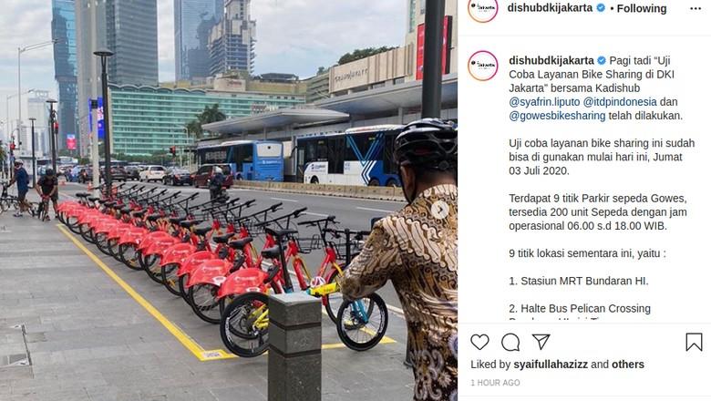 Dishub mulai uji coba bike sharing di DKI Jakarta.