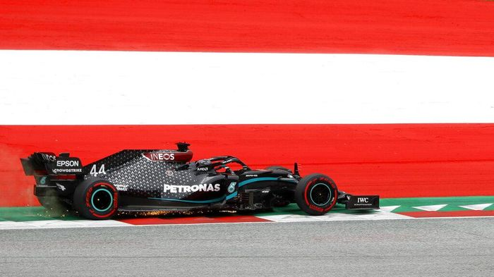 Mercedes driver Lewis Hamilton of Britain steers his car during the first practice session at the Red Bull Ring racetrack in Spielberg, Austria, Friday, July 3, 2020. The Austrian Formula One Grand Prix will be held on Sunday. (Leonhard Foeger/Pool via AP)
