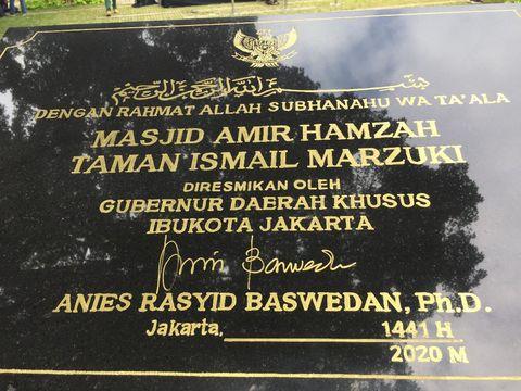Gubernur DKI Jakarta Anies Baswedan meresmikan pembukaan kembali Masjid Amir Hamzah TIM