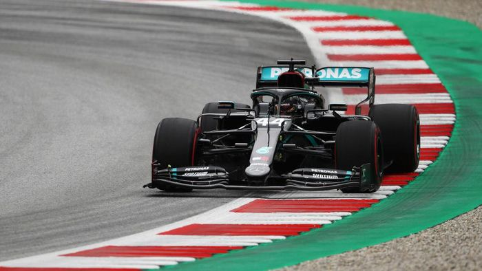 SPIELBERG, AUSTRIA - JULY 03: Lewis Hamilton of Great Britain driving the (44) Mercedes AMG Petronas F1 Team Mercedes W11 on track during practice for the F1 Grand Prix of Austria at Red Bull Ring on July 03, 2020 in Spielberg, Austria. (Photo by Bryn Lennon/Getty Images)