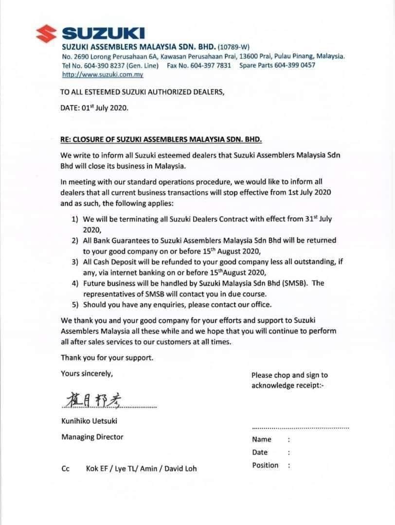 Surat edaran Suzuki Assemblers Malaysia