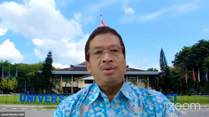 Tangkapan layar Rektor UNS Solo Prof Jamal Wiwoho di webinar Urgensitas Pengaturan Pembinaan Ideologi Pancasila dalam Undang-Undang, Jumat (3/7/2020)