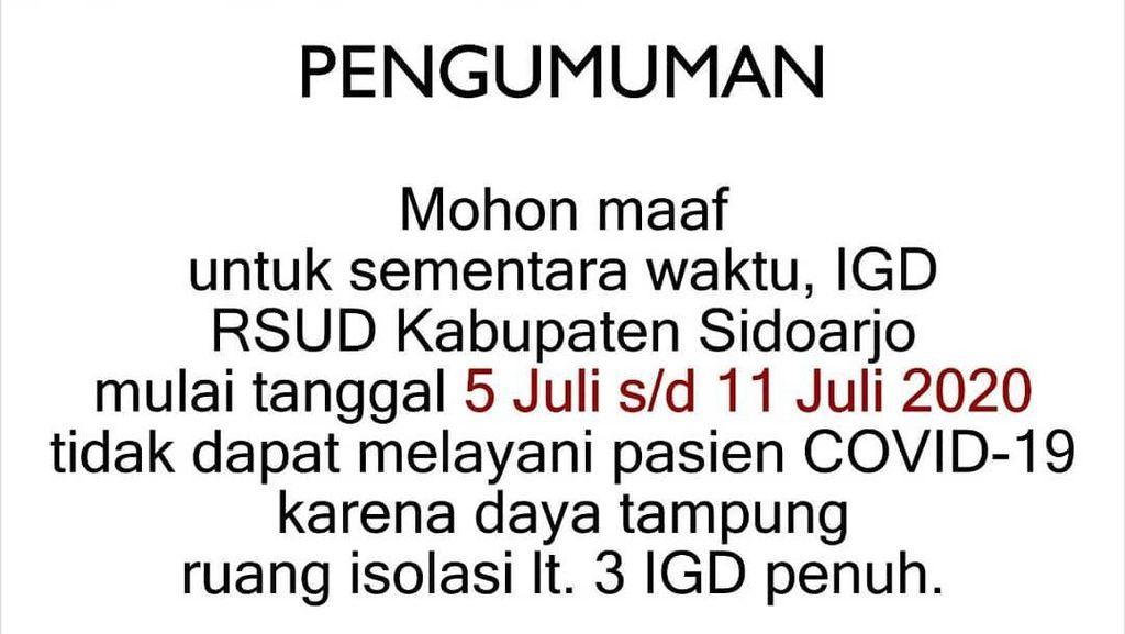 RSUD Sidoarjo Perpanjang Tak Terima Pasien COVID-19 Hingga 11 Juli