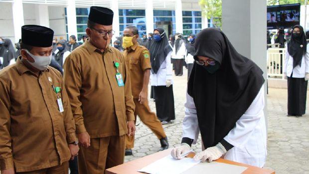220 CPNS formasi 2018 dalam lingkup Kantor Kemenag Aceh dilantik sebagai PNS (dok. Istimewa)