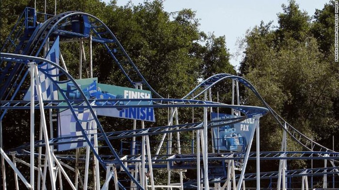 The Formula 1 Coaster amusement park ride at Parc Saint-Paul, where a woman died this weekend.