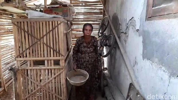 Niti (52) yang hidup di kandang bebek-ayam di Brebes, Senin (6/7/2020).