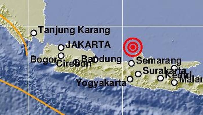 Shakemap gempa M 6,1 di Jepara