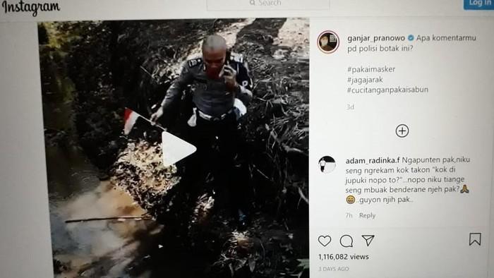 Postingan Ganjar Pranowo soal polisi ambil bendera merah putih di selokan.