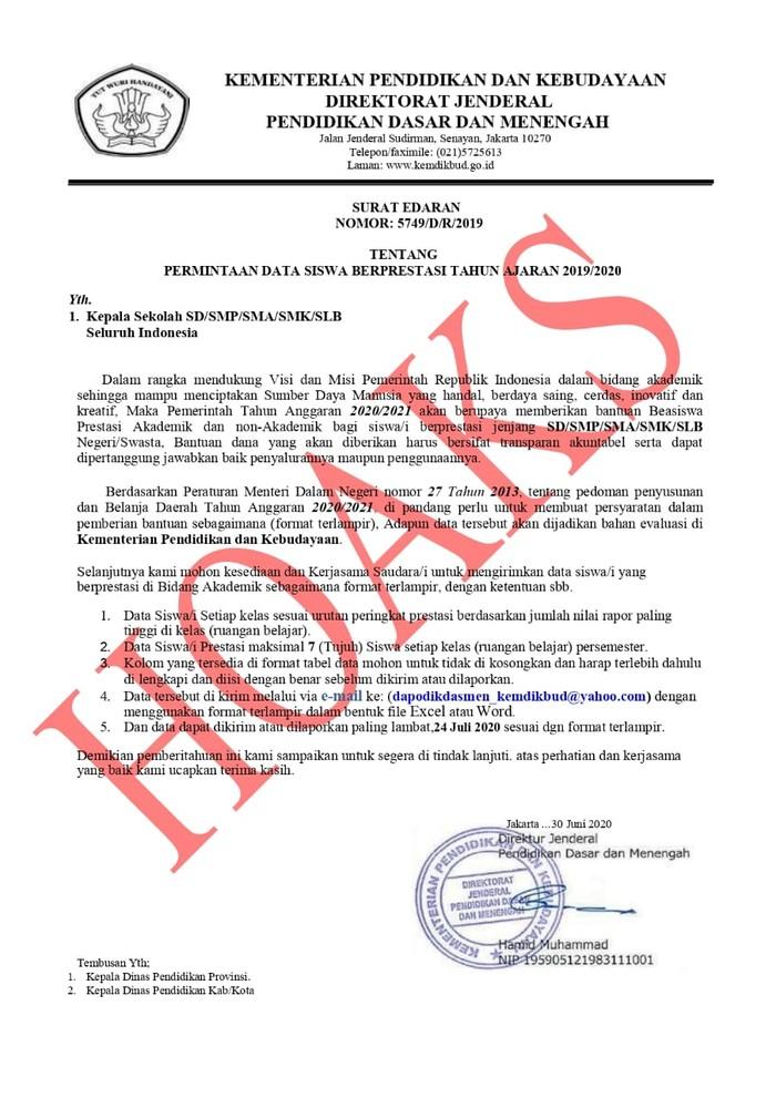 Surat palsu permintaan data siswa berprestasi (Dok. Kemendikbud)