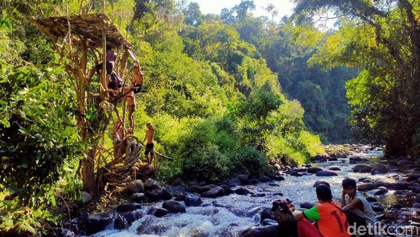 Wisata alam dengan kesejukan suasana hutan, ditambah lagi dengan air sungai yang dingin dan jernih ini, dijamin bisa membuat Anda lebih tenang dan terlepas sejenak dari hiruk pikuk kehidupan kota. (Faruk Nickyrawi/detikcom)