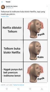 Indihome akhir membuka blokir Netflix. Yang datang selanjutnya adalah reaksi kocak netizen untuk bereuforia. Cihuy nggak pakai VPN lagi!