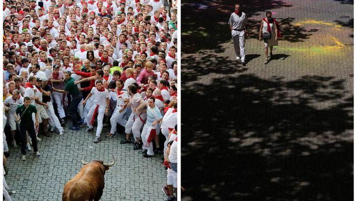 Festival San Fermin merupakan festival paling ikonik di dunia. Berlarian menghindari banteng selalu seru untuk dilihat. Namun, pandemi membuat aktivitas tersebut ditiadakan.
