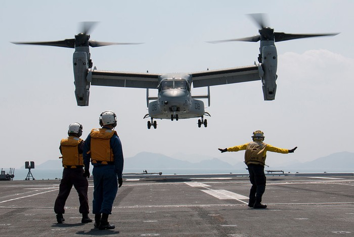 AURORA PROVINCE, PHILIPPINES - MAY 15::  A US V22 Osprey takes off from a port after disembraking supplies on May 15, 2017 in Casiguran Province, Philippines. Philippines and U.S. troops held the annual