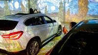 Diketahui, gudang yang jadi ruang pameran seni itu pun dapat menampung sekitar 10 mobil di saat bersamaan. Sejumlah spot pun telah disediakan untuk parkir mobil, di mana traveler bisa menikmatinya dengan durasi sekitar 35 menit secara bergantian (AFP)