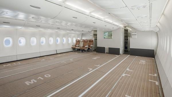 Dengan penghapusan kursi ekonomi, Airbus ini bisa mengangkut barang di ketiga tingkat pesawat. (Hi Fly)