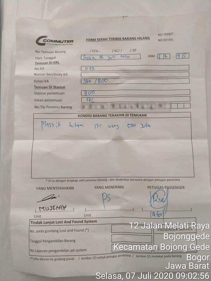 Form serah terima barang hilang penemuan uang Rp 500 juta di KRL